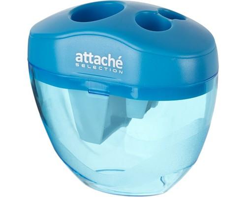 Точилка Attache Selection тройная с контейнером голубая - (325553К)