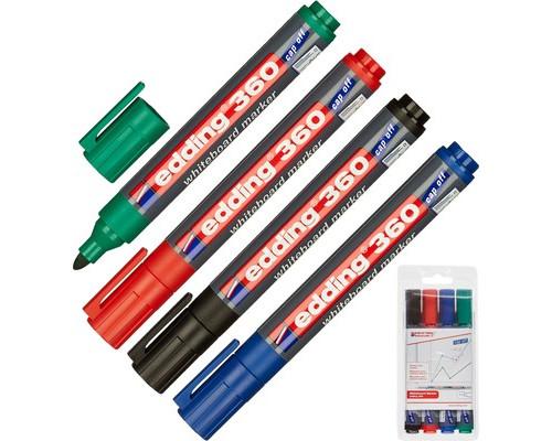 Набор маркеров для досок Edding e-360-4S cap off толщина линии 1.5-3 мм 4 цвета - (31833К)