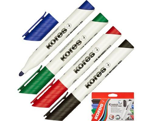Набор маркеров для досок Kores толщина линии 3 мм 4 цвета - (246164К)