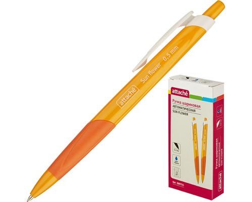Ручка шариковая автоматическая Attache Sun Flower синяя желтый корпус толщина линии 0.5 мм - (389755К)