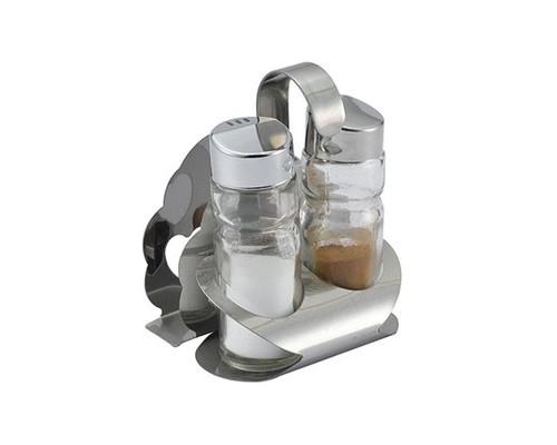 Набор для специй на металлической подставке солонка перечница и салфетница - (463414К)