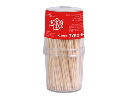 Зубочистки деревянные Aster Domolux 190 штук в пластиковой упаковке - (151264К)