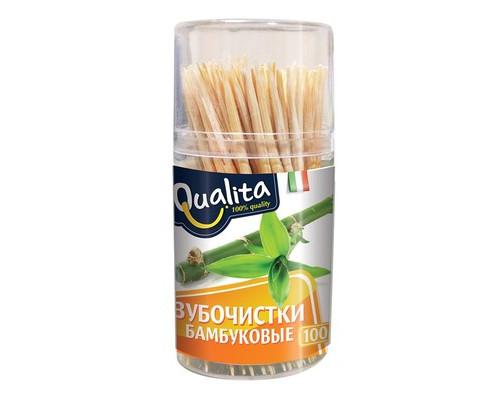 Зубочистки бамбуковые Qualita 100 штук в пластиковой упаковке - (687989К)