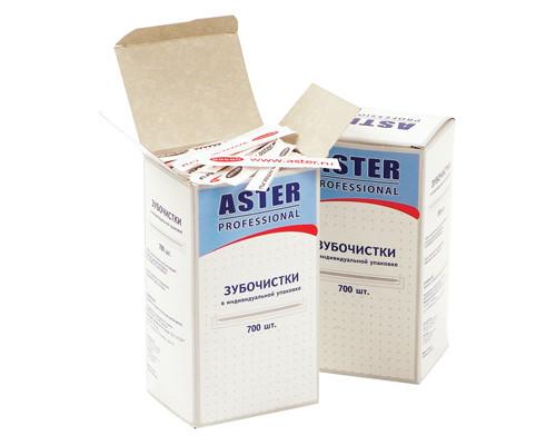 Зубочистки деревянные Aster Professional 700 штук в бумажных упаковках - (86865К)