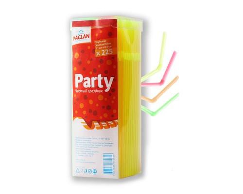 Трубочки для коктейля Paclan с изгибом в ассортименте длина 21 см 225 штук в упаковке - (227784К)