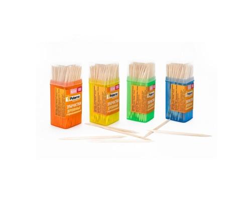 Зубочистки деревянные,100 шт. в пласт баночке, 6 см*2 мм, PATERRA 401-782
