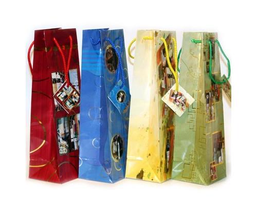 Пакет бумажный для бутылки, декор фольга, 10.2X33X8.9 см, 4 дизайна,10556