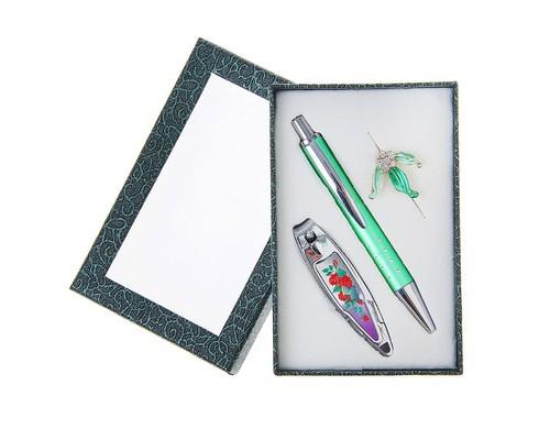 Подарочный набор 3в1: ручка, брошь, кусачки, цвет зелёный 1124077