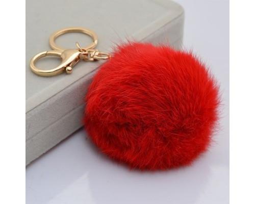 Брелок с кольцом Пушистый брелок красный БР-008