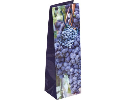 Пакет бумажный для бутылки ламинированный 10X33X9 см, 1 дизайн, 34259