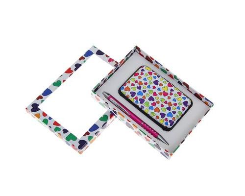 Подарочный набор 2в1: ручка, визитница Сердечки 1124069