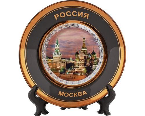 Сувенир Тарелка 11 см. Москва-Кремль фиол. фон (черная, фольга) 900055
