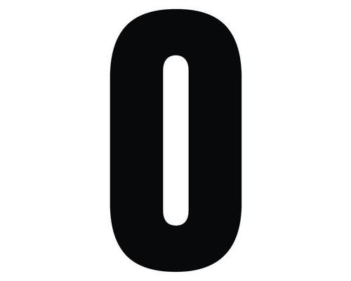 Табличка с номером 0 на клеящейся основе - (529755К)
