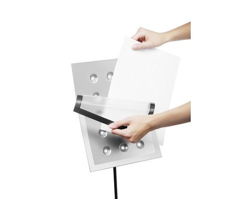 Информационный стенд напольный Durable Duraview А4 металлический серебристый магнитная рамка - (333289К)