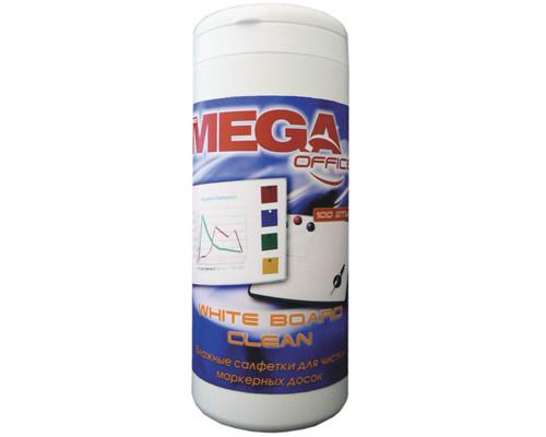 Салфетки для чистки белых маркерных досок Mega Office White Board Clean 100 штук вискоза - (134429К)