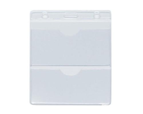 Бейджик вертикальный трехсекционный без держателя для карточек 95х154 мм - (556731К)