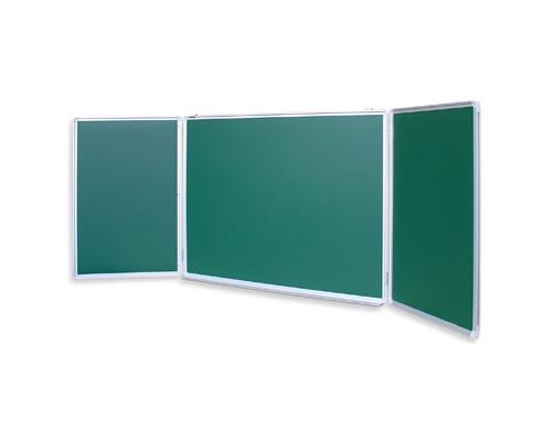 Доска магнитно-меловая трехсекционная Attache 100x300 см лаковое покрытие зеленая - (52355К)
