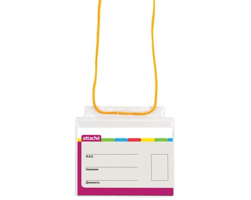 Бейджик Attache с желтой тесьмой для карточек 71х100 мм - (48908К)