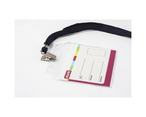 Бейджик горизонтальный Attache с металлическим зажимом и тесьмой для карточек 100х71 мм - (48907К)