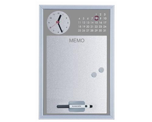 Доска магнитно-маркерная Bi-Office 30x45 см часы + планинг серый - (270233К)