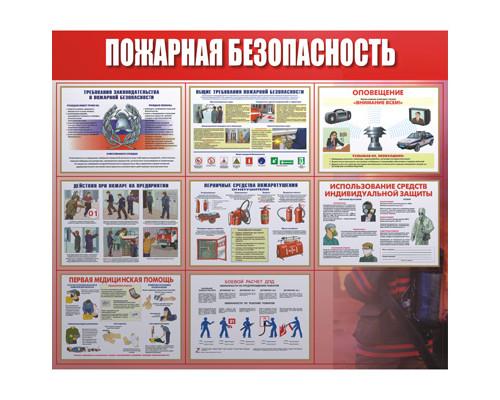 Информационный стенд настенный Пожарная безопасность 92x80 см пластиковый красный-белый - (219389К)