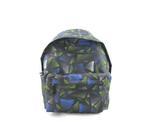 Рюкзак молодежный №1 School сине-зеленые треугольники