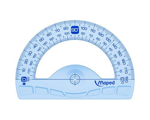 Транспортир 180°,основ.12см,Maped,пластик,градуировка,УФ чернила