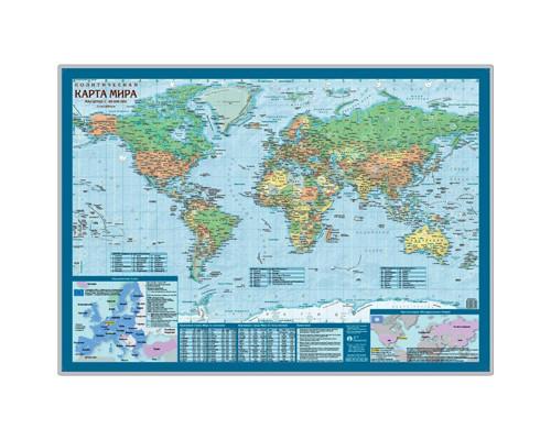 Настенная карта Мир политическая 1:69 млн. Настольная карта