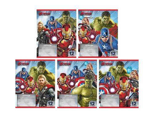 Тетрадь школьная 12л,лин,А5,Marvel,Мстители,5диз.в асс(29466)