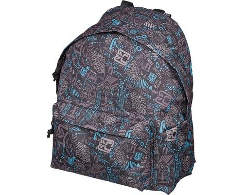Рюкзак молодежный №1 School серо-голубые узоры