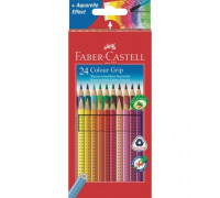 Карандаши цветные 24цв 3-гран точилка Faber-Castell Grip 112424