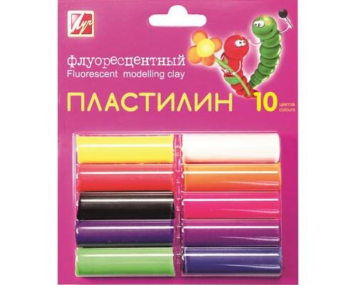 Пластилин Луч флуоресцентный 10цв 132гр с европодвесом