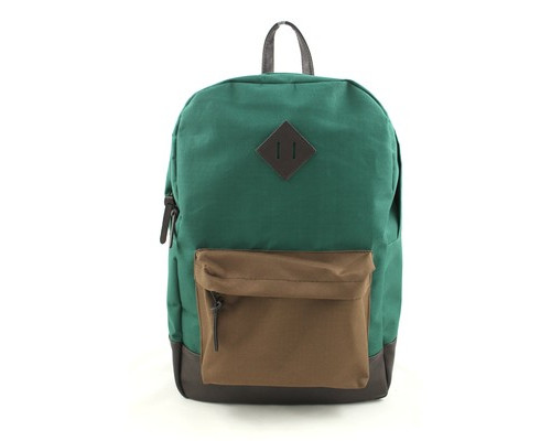 Рюкзак молодежный №1 School зеленый/коричневый, кож.зам