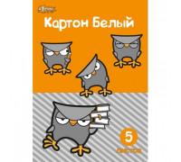Картон белый №1School,Совенок,5л,А4, мелов