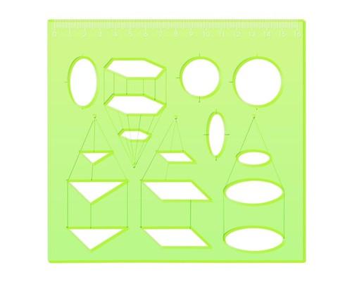 Трафарет стереометрии отливн. шкала зеленый ТТ71