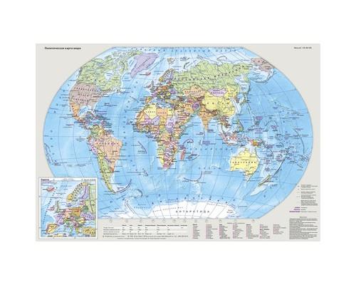 Карта настольная Мир и Россия двусторон. 49х34см