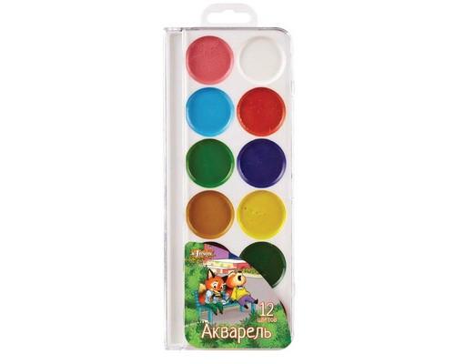 Краски акварельн. №1 School Лисята 12 цв б/кисти пластик