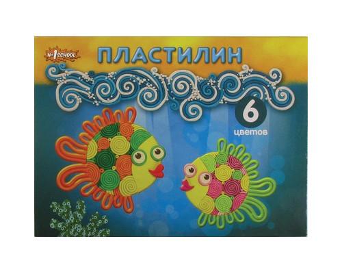 Пластилин №1School,Подводный мир,6цв,120гр,стек