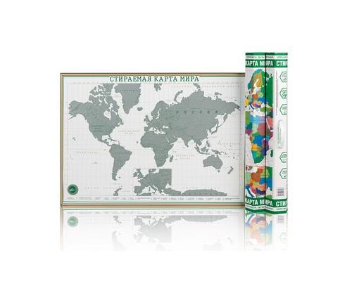 Карта Скретч мира Премиум Зеленая 2, 59х42см, с ручкой