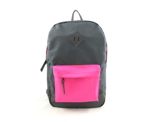 Рюкзак молодежный №1 School серый/розовый, кож.зам.