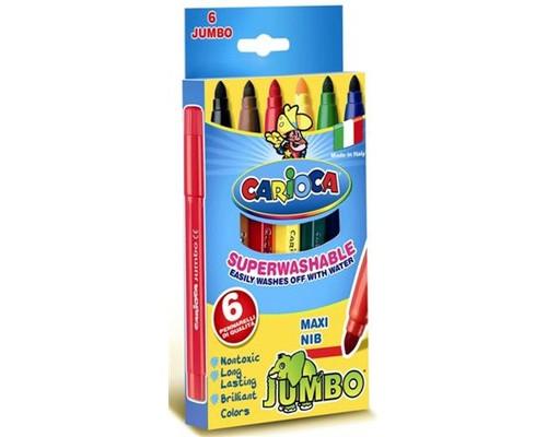 Фломастер 6цв.,Jumbo,картон упаков,Carioca,40568