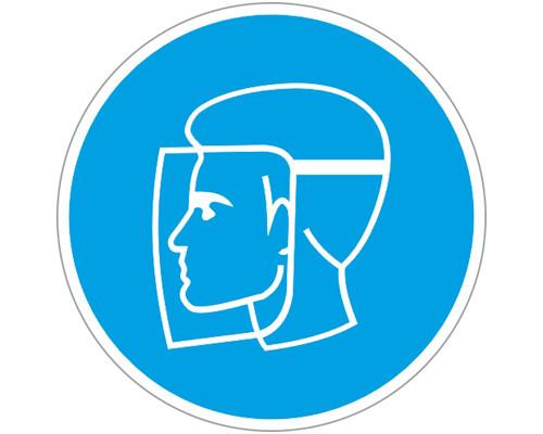 Знак безопасности M08 Работать в защитном щитке (плёнка,200х200)