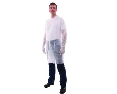 Одноразовая одежда Халат медицинский на кнопках, белый (р.50-54) 10шт. в уп
