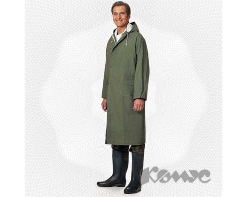 Спец.костюм Плащ влагозащитный ПВХ с капюшоном зеленый XXXL.