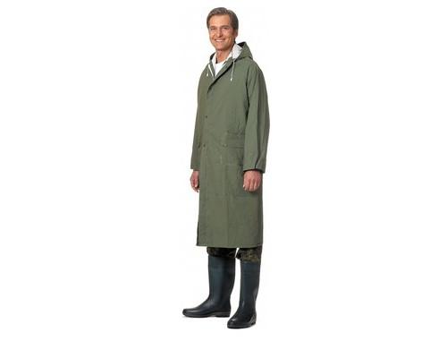 Спец.костюм Плащ влагозащитный ПВХ с капюшоном зеленый XL.