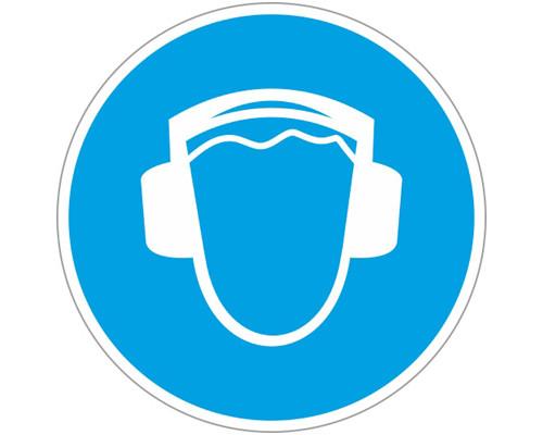 Знак безопасности M03 Работать в защитных наушниках (плёнка,200х200)