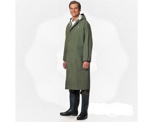 Спец.костюм Плащ влагозащитный ПВХ с капюшоном зеленый XXL.