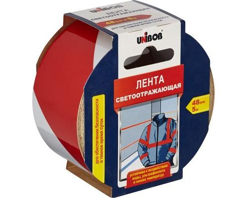 Клейкая лента cветоотражающая Unibob 48мм х 5м, бело/красная