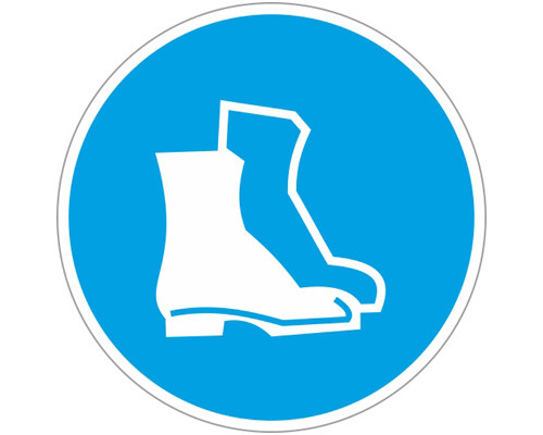 Знак безопасности M05 Работать в защитной обуви (плёнка,200х200)