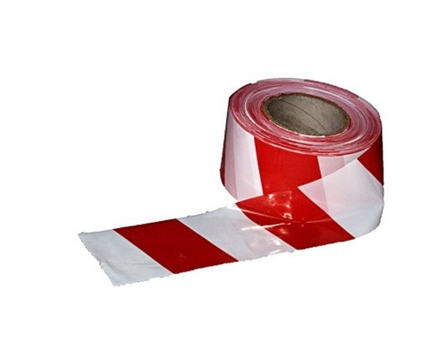 Лента оградительная красно-белая 75мм х100м